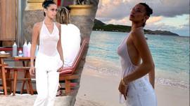 Bella Hadid'in transparan sahil kıyafeti olay oldu