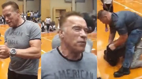 Schwarzenegger'e uçan tekmeli saldırı