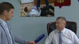 Soruyu beğenmeyen başkan muhabiri dövdü!
