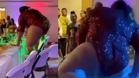 Ünlü şarkıcı dans etmek için çıktığı masayı kırdı!