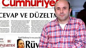 Cumhuriyet Gazetesi bugün de tekziple çıktı