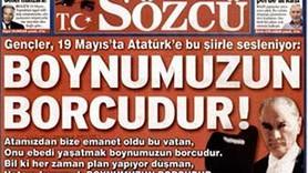 SÖZCÜ'DEN ŞİİRLİ 19 MAYIS MANŞETİ!