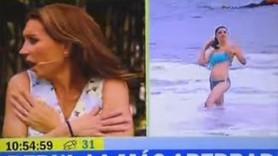Canlı yayında denize giren muhabirin bikinisi düştü!