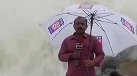 Canlı yayında muhabirin zor anları!