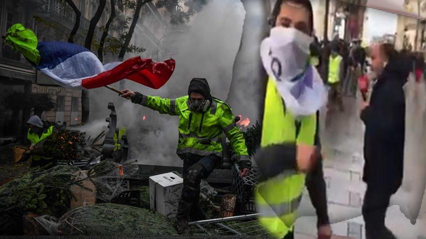 Türkiyeli Sarı Yelekli'den TRT ekibine tepki! Macron da siz de gideceksiniz!