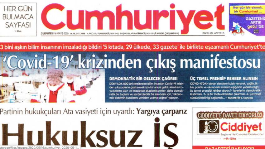 'Krizden çıkış manifestosu' Türkiye'de yalnızca Cumhuriyet'te yayınlandı!