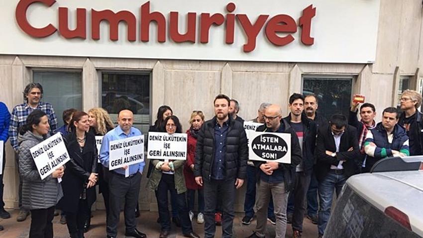"""Cumhuriyet önünde eylem: """"Cumhuriyet susmaz, Cumhuriyet çalışanları da susmaz!"""""""