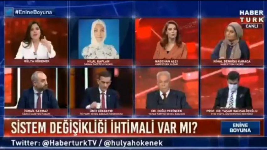 Hilal Kaplan'dan Habertürk'e 'FETÖ'cü suçlaması! Canlı yayından atıldı!