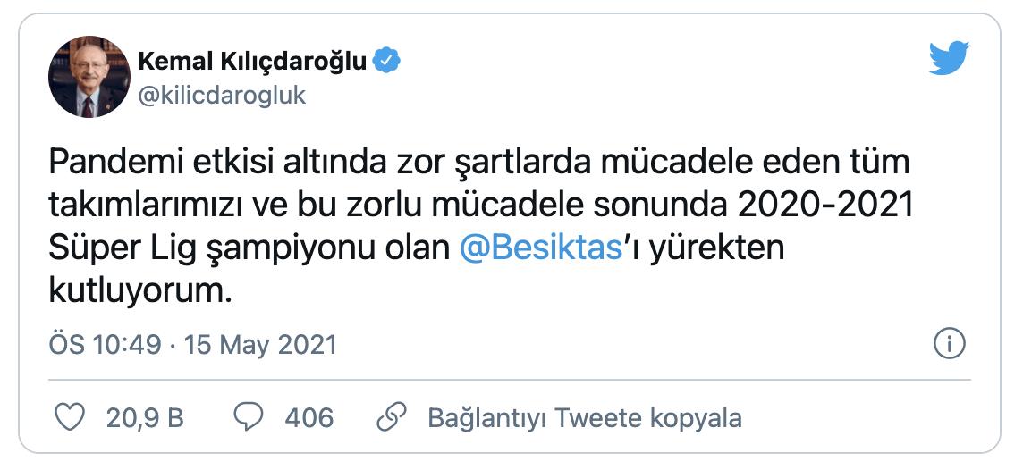 Siyasilerden ve ünlü isimlerden şampiyon Beşiktaş'a tebrik - Sayfa 2