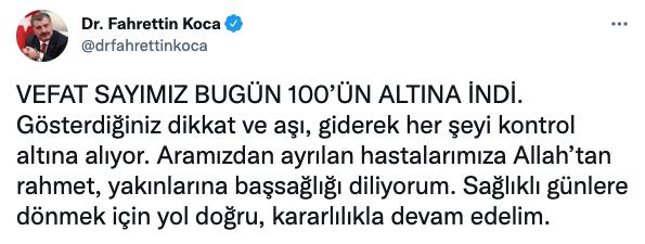Sağlık Bakanı Fahrettin Koca'ya gece yarısı tweet attıran gelişme! 'Yolumuz doğru…'