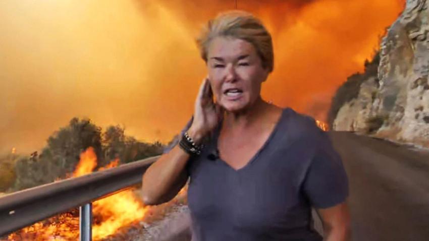 Dünya bu görüntüyü konuşuyor! Sky News muhabiri Bodrum'da alevlerin arasına daldı!